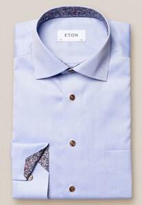 Eton Uni Signature Twill Paisley Detail Overhemd Licht Blauw