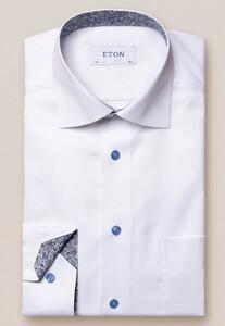 Eton Uni Signature Twill Paisley Detail Overhemd Wit