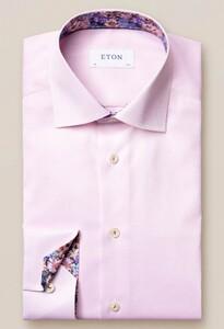Eton Uni Twill Flower Contrast Detail Overhemd Roze