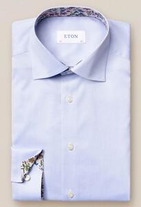 Eton Uni Twill Flower Detail Overhemd Licht Blauw