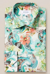 Eton Water Color Floral Shirt Green