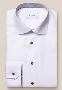 Eton White Poplin Details Overhemd Wit