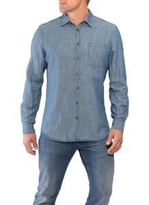 Maerz Katoen Linnen Shirt Nimes Blue