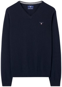 Gant Super Fine Lambswool V-Neck Navy