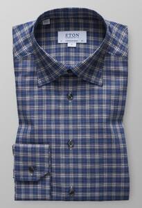 Eton Check Flannel Shirt Donker Blauw