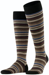 Falke Microblock Stripe Knee-Highs Grey-White