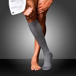 Falke No. 6 Finest Merino and Silk Kniekous Knee-Highs Extra Light Grey Melange
