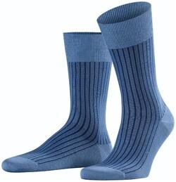 Falke Oxford Stripe Sokken Dusty Blue