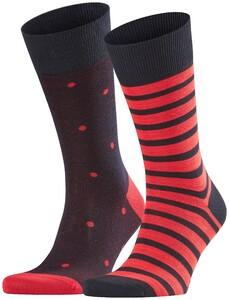Falke Stripe Dot Sock 2-Pack Sokken Midnight Navy Melange