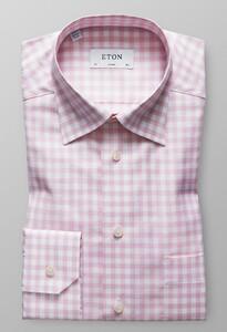 Eton Button Under Gingham Check Roze