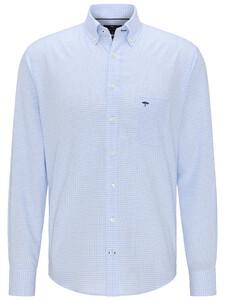 Fynch-Hatton All-Season Oxford Check Overhemd Licht Blauw