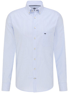 Fynch-Hatton All-Season Oxford Stripe Overhemd Licht Blauw
