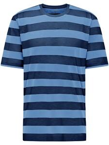 Fynch-Hatton Blockstripe Round Neck T-Shirt Midnight-Soda