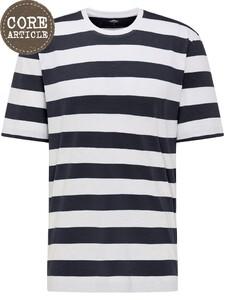 Fynch-Hatton Blockstripe Round Neck T-Shirt Wit-Navy