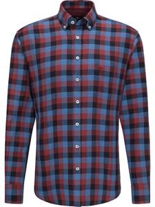 Fynch-Hatton Bold Check Button Down Flannel Shirt Amarena