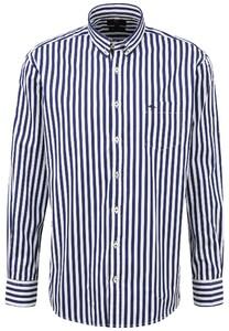 Fynch-Hatton Bold Classic Stripe Overhemd Navy-Wit