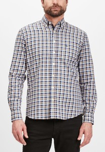Fynch-Hatton Button Down Classic Check Overhemd Navy-Camel