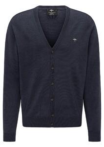 Fynch-Hatton Cardigan Button Merino Vest Navy