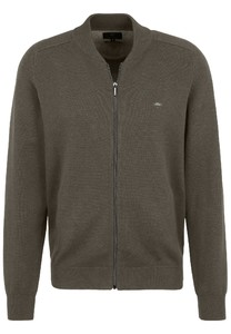 Fynch-Hatton Cardigan College Zipper Cotton Vest Earth