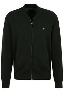 Fynch-Hatton Cardigan College Zipper Cotton Vest Emerald