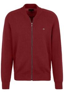 Fynch-Hatton Cardigan College Zipper Cotton Vest Scarlet