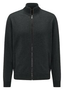 Fynch-Hatton Cardigan Zip Elbow Patches Lambswool Vest Emerald