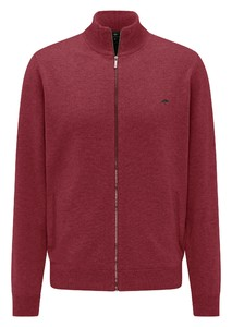 Fynch-Hatton Cardigan Zip Elbow Patches Lambswool Vest Scarlet
