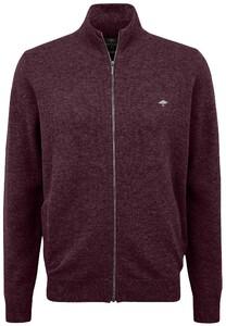 Fynch-Hatton Cardigan Zip Elbow Patches Premium Lambswool Vest Amarena