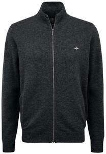 Fynch-Hatton Cardigan Zip Elbow Patches Premium Lambswool Vest Charcoal