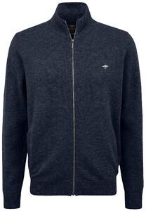 Fynch-Hatton Cardigan Zip Elbow Patches Premium Lambswool Vest Night