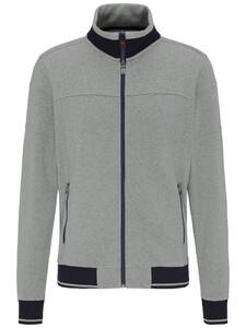 Fynch-Hatton Cardigan Zip Moulinee Vest Silver