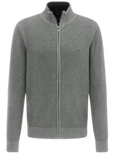 Fynch-Hatton Cardigan Zip Structure Mix Vest Silver