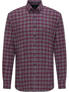 Fynch-Hatton Casual Multi Check Flanel Overhemd Merlot