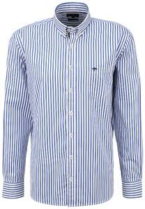 Fynch-Hatton Classic Stripe Button Down Overhemd Blauw-Wit