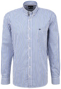 Fynch-Hatton Classic Stripe Button Down Shirt Blue-White