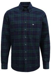 Fynch-Hatton Corduroy Check Button Down Overhemd Blauw-Groen-Rood