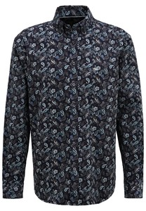 Fynch-Hatton Corduroy Paisley Overhemd Navy-Pine