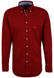 Fynch-Hatton Cotton Uni Contrast Buttons Overhemd Amarena