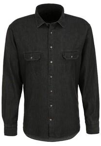 Fynch-Hatton Denim Safari Kent Overhemd Zwart