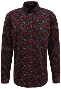 Fynch-Hatton Fancy Corduroy Paisley Shirt Navy-Scarlet