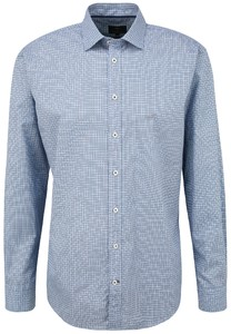 Fynch-Hatton Fantasy Square Pattern Shirt Blue