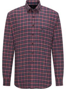 Fynch-Hatton Fine Check Button Down Flannel Shirt Amarena