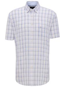 Fynch-Hatton Fine Multi Check Overhemd Earth-Blue