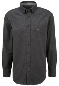 Fynch-Hatton Flanel Button Down Overhemd Anthra