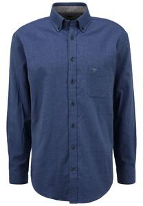 Fynch-Hatton Flanel Button Down Overhemd Blauw