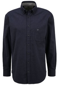 Fynch-Hatton Flanel Button Down Overhemd Navy