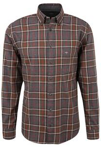 Fynch-Hatton Flanel Check Button Down Overhemd Anthra