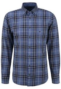 Fynch-Hatton Flanel Check Button Down Overhemd Blauw