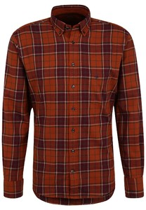 Fynch-Hatton Flanel Check Button Down Overhemd Terracotta