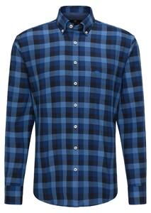Fynch-Hatton Flanel Grote Ruit Overhemd Blauw
